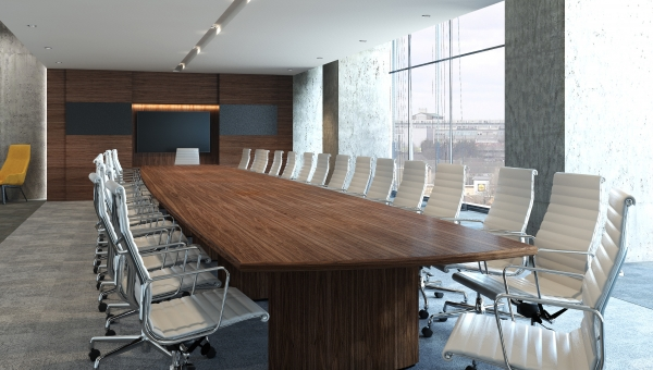 CREATE A STUNNING BOARDROOM WITH MATCHING FURNITURE AND A-V WALL PANELLING FROM EBORCRAFT