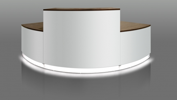 "INSET LIGHTING GIVES EBORCRAFT RECEPTION COUNTER THE ""WOW FACTOR"""